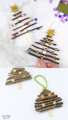 Popsicle Stick and Twigs Christmas Tree Ornaments Popsicle Stick and Twigs Christmas Tree Ornaments,Weihnachtsbasteln Do you have your Christmas tree out yet? Let's make wonderful popsicle stick and twigs Christmas tree ornaments to decorate. Christmas Tree Outside, Twig Christmas Tree, Beautiful Christmas Trees, Christmas Ornaments To Make, Christmas Crafts For Kids, Holiday Crafts, Christmas Diy, Christmas Presents, Christmas Heaven