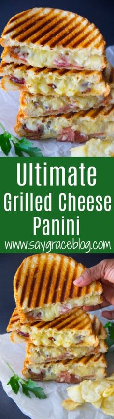 This ultimate grilled cheese sandwich loaded with sharp white cheddar, gooey Gouda, Parmesan and thick cut bacon makes for the perfect accompaniment to your velvety tomato soup lunch. Light Sandwiches, Gourmet Sandwiches, Breakfast Recipes, Dessert Recipes, Drink Recipes, Desserts, Ultimate Grilled Cheese, Good Food, Yummy Food