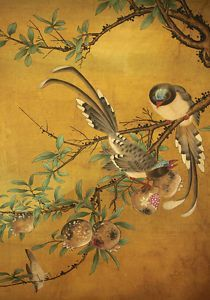 Image result for antique mirror glass Chinese Drawings, Chinese Art, Antique Mirror Glass, Japanese Artwork, Gold Walls, Gold Art, Hanging Art, Wall Murals, Flowers