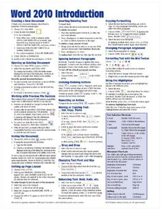 Microsoft Word 2010 Introduction Quick Reference Guide (Cheat Sheet of Instructions, Tips  Shortcuts - Laminated Card)