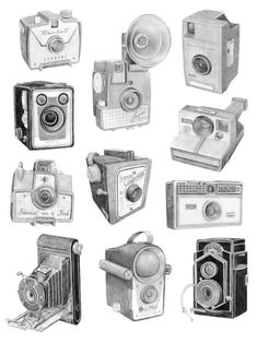 Christine Berrie   Vintage Cameras Drawing