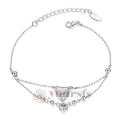 14 New Fashion Jewelry 18K White Gold Plated Crystal Charm Pendant Bracelet Women Bracelet Pulseiras Fenas B100W16 -- Find out more about the great product at the image link. http://www.amazon.com/gp/product/B00XNLCCZY/?tag=jewelry3638-20&pvw=051016222309