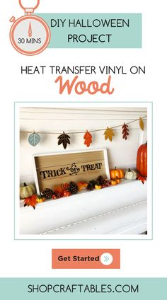 Trick or Treat yourself up with this cute DIY craft projects for Halloween! This signage actually makes a great tray too. Check out this tutorial from Vinyl Crafts, Vinyl Projects, Diy Craft Projects, Home Crafts, Cheap Heat Transfer Vinyl, Halloween Vinyl, Halloween Trick Or Treat, Diy Signs, Christmas Projects
