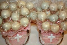 cake pops for baptism.... how did they make them shimmery?