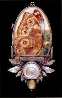 I Am Never Alone In My Garden (sterling silver, shell, marble, watchmaker's crystal, brass, antique lithograph) Roberta and David Williamson