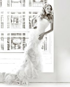 Jin Wang designer trumpet wedding dress in silk organza