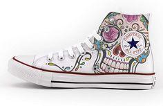 cf8b90533b Converse Personalizados e impresos - zapatos de artesanía - Mexican Skull   Amazon.es