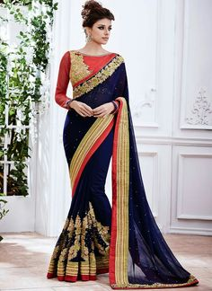 Buy Black Saree Online ✔Best Price in India ✔Cash On Delivery ✔Amazing Offers on Black Saree from Triveni etc. We offer Black Saree Blouse, Black Saree Net, Black Saree Cotton etc. Sari Blouse, Saree Dress, Saree Blouse Designs, Navy Blue Saree, Black Saree, Sari Design, Fancy Sarees, Party Wear Sarees, Silk Sarees