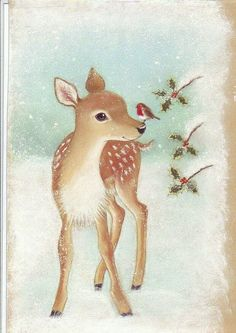 Gentle deer and cardinal illustration on Vintage Christmas card Vintage Christmas Images, Christmas Scenes, Old Fashioned Christmas, Christmas Deer, Christmas Animals, Christmas Past, Retro Christmas, Vintage Holiday, Christmas Pictures