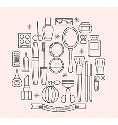Beauty and cosmetics thin line outline icons set vector by kraphix on VectorStock®