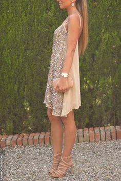 Women's fashion | Neutral sequins mini dress