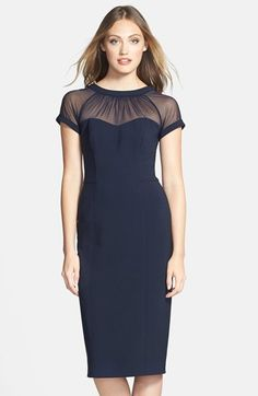 Petite Women's Maggy London Illusion Yoke Crepe Sheath Dress, Size 8P - Blue by: Maggy London @Nordstrom