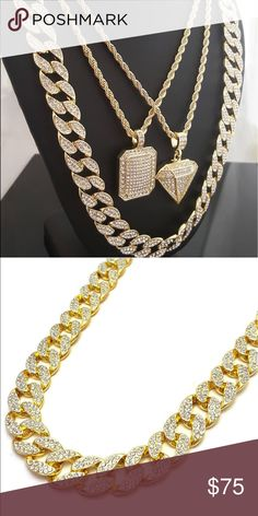 """fashion chain and charm and stone chain Two set of chain and charm with diamond pendant and dog tag 30"""" hip hop chain with stones Accessories Jewelry"""