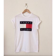 Classic White Tommy Hilfiger Swag Sexy Style Top Tshirt Fresh Boss... ($23) ❤ liked on Polyvore featuring tops, t-shirts, silver, women's clothing, summer t shirts, white summer tops, sexy t shirts, oversized white top and sexy white t shirt