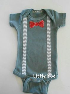 55fc13b792725 Items similar to Baby Boy Onesie with Bowtie, Slate Gray Onesie with Red  Bowtie and Chevron Suspenders, Custom Baby Boy Onesie on Etsy