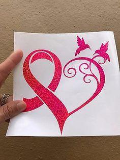 PINK Breast Cancer Ribbon Heart Hummingbird Holographic Vinyl Decal Car Laptop