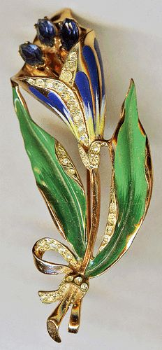 1940s CORO-CRAFT Sterling Blue Enamel Rhinestone Lily Flower Brooch