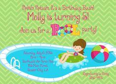 Custom Invitation Pool Party for Girl Splish Splash Its a Birthday Bash Swim Party 5x7 JPEG or PDF Digital File for e-mail or print