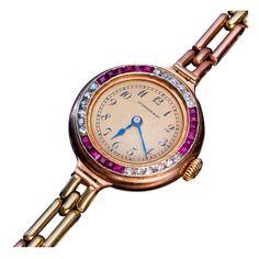 1stdibs | Jeweled Gold Ladies Wrist Watch Henry Moser c1915