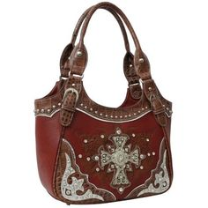 Handbags Bling More Burgundy Western Rhinestone Cross Handbag Style Purses
