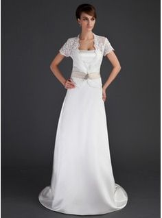 Sheath/Column Sweetheart Court Train Satin Wedding Dress With Bow(s) (002004549) - JJsHouse