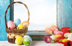 Wallpapers on desktop. Wallpaper flowers, eggs, spring, Happy, flowers, window, tulips, tulips, Easter, eggs, Easter, basket, decoration, spring to download.
