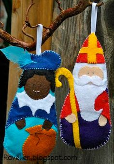 Free sewing pattern for felt Sinterklaas and Zwarte Piet Felt Diy, Felt Crafts, St Nicholas Day, Felt Patterns, Winter Theme, Felt Christmas, Holiday Crafts, Decoration, Quilts
