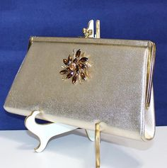 Cute Vintage, Gold Clutch Purse, Adorned with Vintage Rhinestone Jewelry