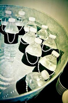 Breakfast at Tiffany's Bridal shower little black dress water bottlesGlamLuxePartyDecor: FREE SHIPPING! Creative, Unique, Personalized Glamorous Designer Party Decorations, favors, and keepsakes. Theme party Decor packages. 1st Birthday parties, pink princess tutu, weddings, christenings, holiday celebration, bridal shower, babyshower, bachelorette, Super Bowl, etc. #jacquelineK