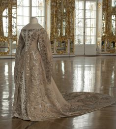 "Court gown belonging to Grand Duchess Ksenia Alexandrovna, sister of Nicholas II. Photo: State Museum ""Tsarskoye Selo."" Via the Tsarskoye Selo State Museum-Preserve on Facebook. CLICK FOR LARGER IMAGE."