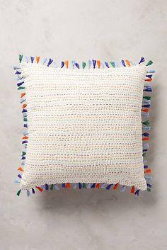 anthropologie. tasseled kantha. pillow. home decor.
