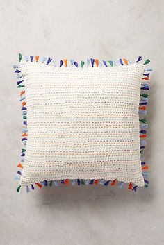 anthropologie. tasseled kantha. pillow. home decor.