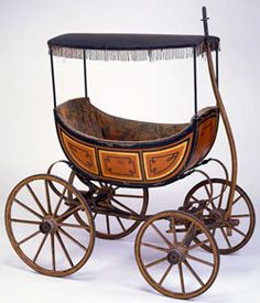 """Baby carriage by Jarvis B. Prentiss~~ Reminds me of """"Oklahoma"""" (the musical) with the """"Buggy with the fringe on top? Cheap Bedroom Furniture, Nursery Furniture, Furniture Stores, Furniture Design, Vintage Pram, Vintage Toys, Victorian Furniture, Antique Furniture, Baby Buggy"""