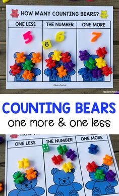 FREE printable counting bears one more one less number mats for preschoolers to practice number sense, fine motor, and counting skills! Fun Activities For Preschoolers, Gross Motor Activities, Counting Activities, Kindergarten Activities, Counting Bears, Creative Curriculum, Preschool At Home, Math Numbers, Number Sense