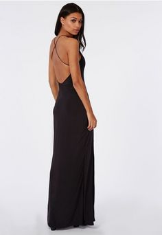 Slinky High Neck Maxi Dress Black - Dresses - Maxi Dresses - Missguided