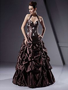 Ball Gown Halter Floor-length Taffeta Prom/ Evening Dress – USD $ 299.99