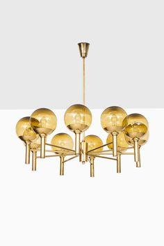 Sven Mejlstrøm ceiling lamp in brass and glass at Studio Schalling