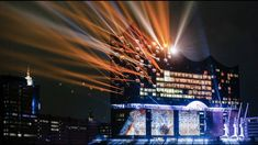 Hamburg, Germany A light show illuminates the Elbphilharmonie concert hall Photograph: Markus Scholz/AP Opening Night, Grand Opening, Ode To Joy, Lights Fantastic, Picture Editor, Concert Hall, S Pic, Architecture, Obama