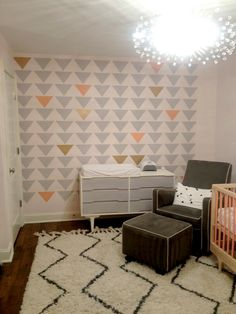 Triangle Stenciled Accent Wall