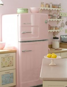 Kitchen - Vintage pink fridge, shelves, too