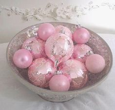 Shabby pink Christmas ornaments