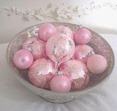 Vintage Pink Glass Christmas Ornaments