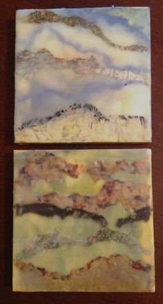 My new 8x8 encaustic paintings.