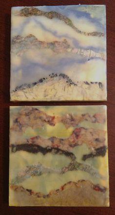 My new 8x8 encaustic paintings.