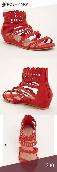 New Red Laser Cut Gladiator Sandals 9W Brand new red sandals. Size 9 wide.  Brand: torrid Size: 9W torrid Shoes