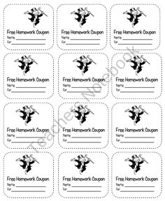 Homework Coupons for those hard little workers. They will enjoy receiving a Free Homework Pass that they have earned. There are 12 passes on a sheet.