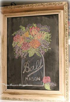 cute ball jar chalkboard idea