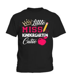 Little Miss Kindergarten Cutie T-Shirt is a Fun, Boutique Style Girly Kids Tee with Apple graphic for Moving Up Day Graduation, First Day of School, 100 Days of School, Report Card reward, Last Day of School, Encouragement, Birthday, Christmas, Holiday or any day for your daughter, sister, granddaughter, niece, or student! Calm first day jitters by having the Teacher, mom or dad wear the matching shirt!Ideal for School Picture Keepsake! Help preserve the memories while looking adorable!  ...