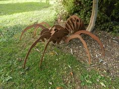 Giant 3D Spider Over 3ft / 3D Metal Spider / Spider gift / Garden Sculpture / Garden Decor / Rusty Metal Spider / Spider Metal Art / Rusty by RustyRoosterMetalArt on Etsy / Buy from Etsy of www.rustyrooster.co.uk