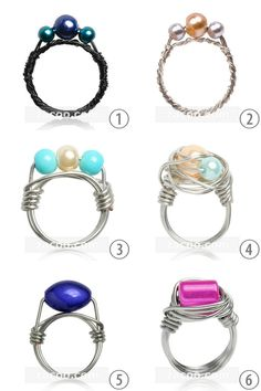 DIY 6 Wire Wrapped Rings from Zacoo. Their is a material list of supplies that can be bought anywhere and then links to excellent tutorials for wire wrapping techniques used to create each ring. TIP: A candle can be used in place of a ring mandrel...